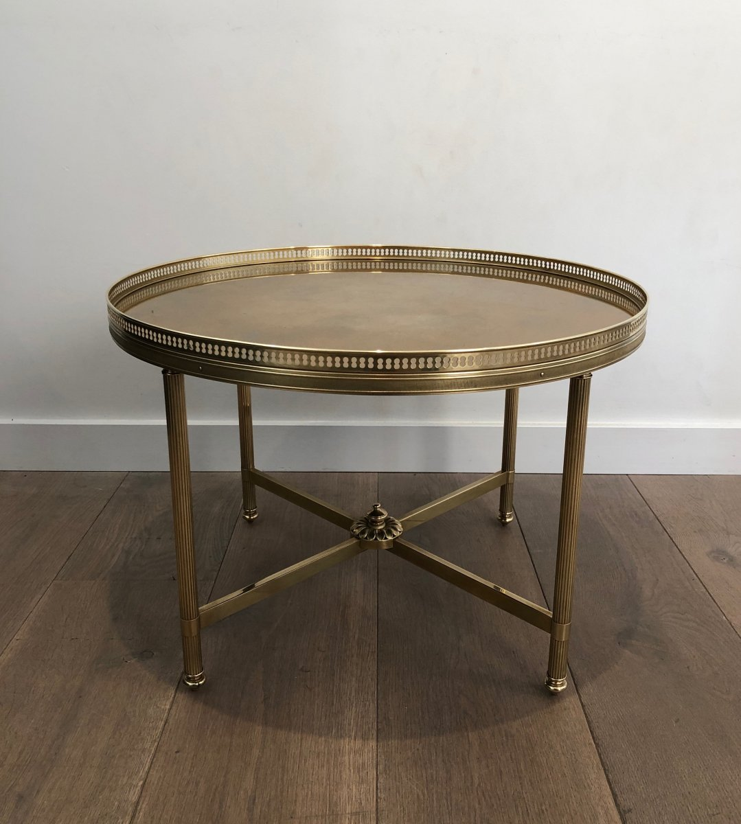 Maison Jansen. Neoclassical Style Small Round Brass Coffee Table With Gold Top. French. 1940's