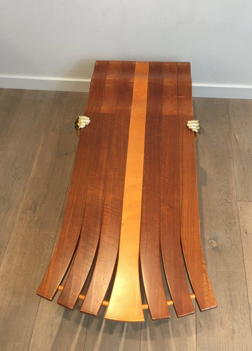 Table Basse Unique Constituée d'Un Epais Plateau De Bois De Forme Libre Supporté Par 2 Bras -photo-3