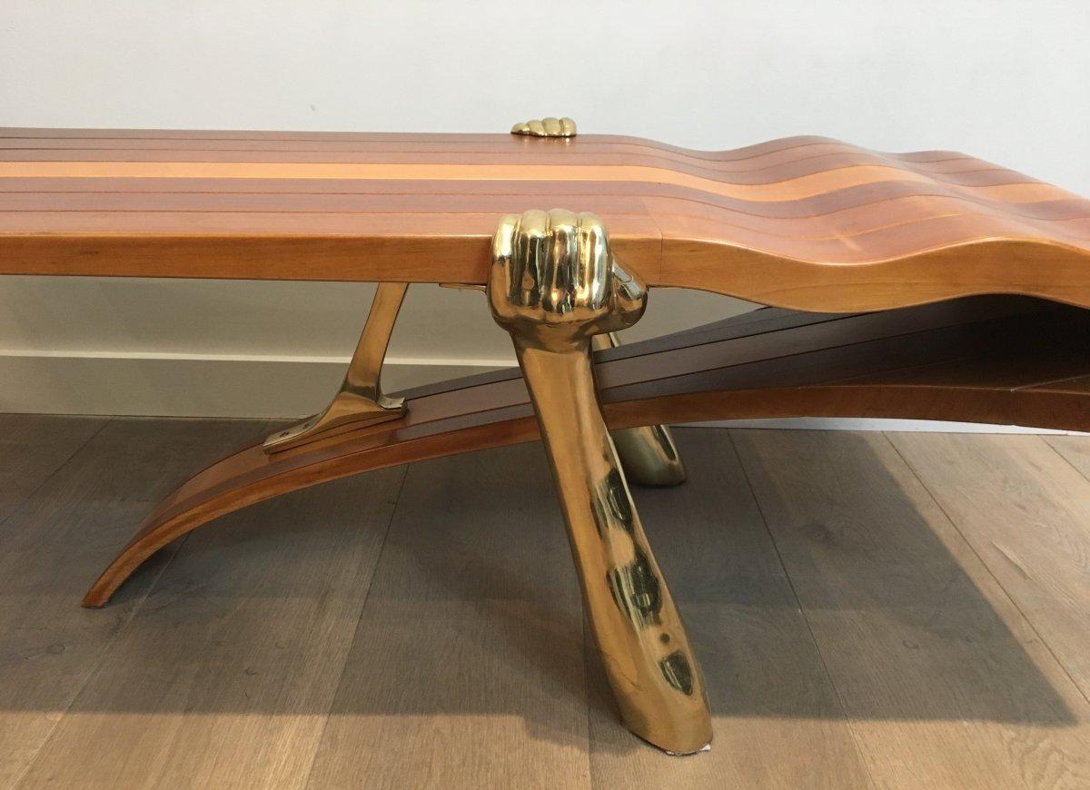 Table Basse Unique Constituée d'Un Epais Plateau De Bois De Forme Libre Supporté Par 2 Bras -photo-2