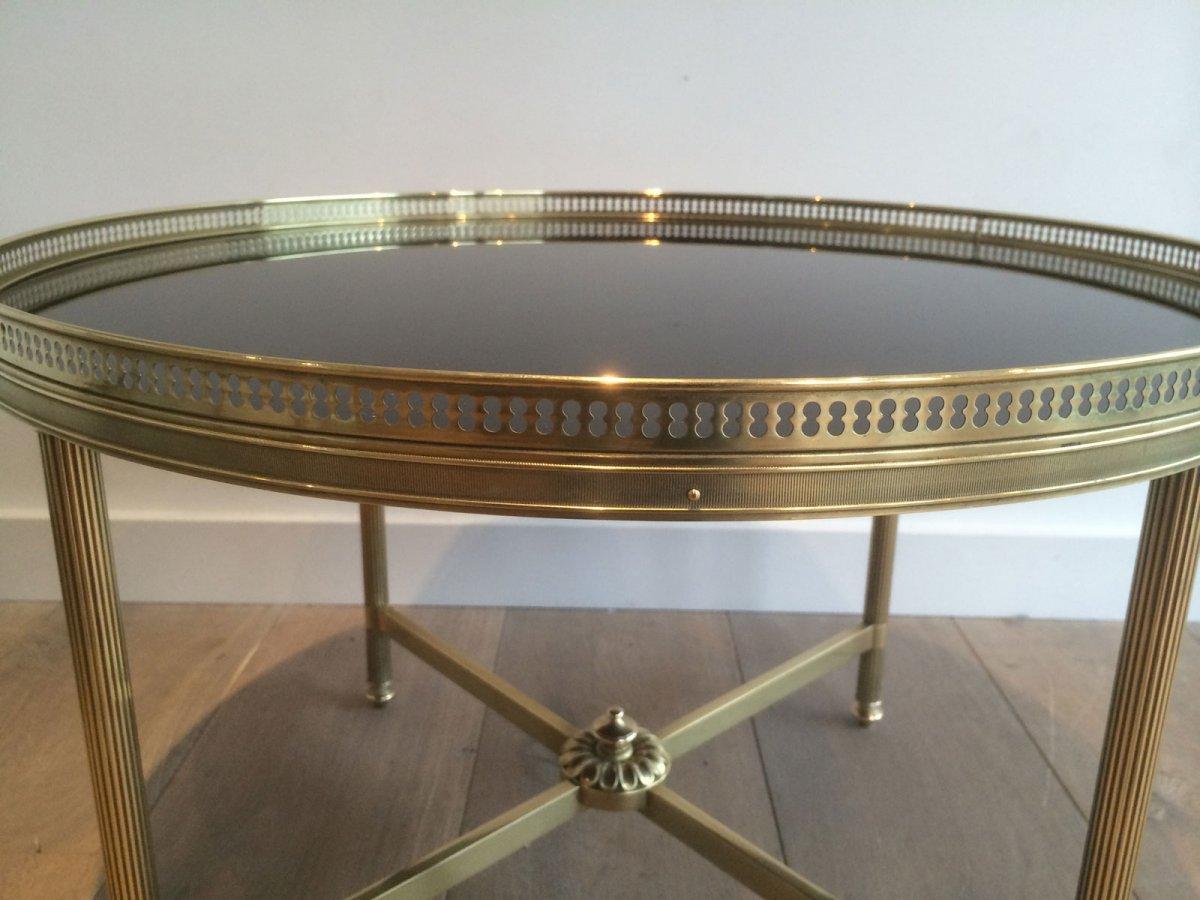 Maison Bagués. Table Basse Ronde De Style Néoclassique En Laiton à Plateau De Verre Laqué Noir-photo-3