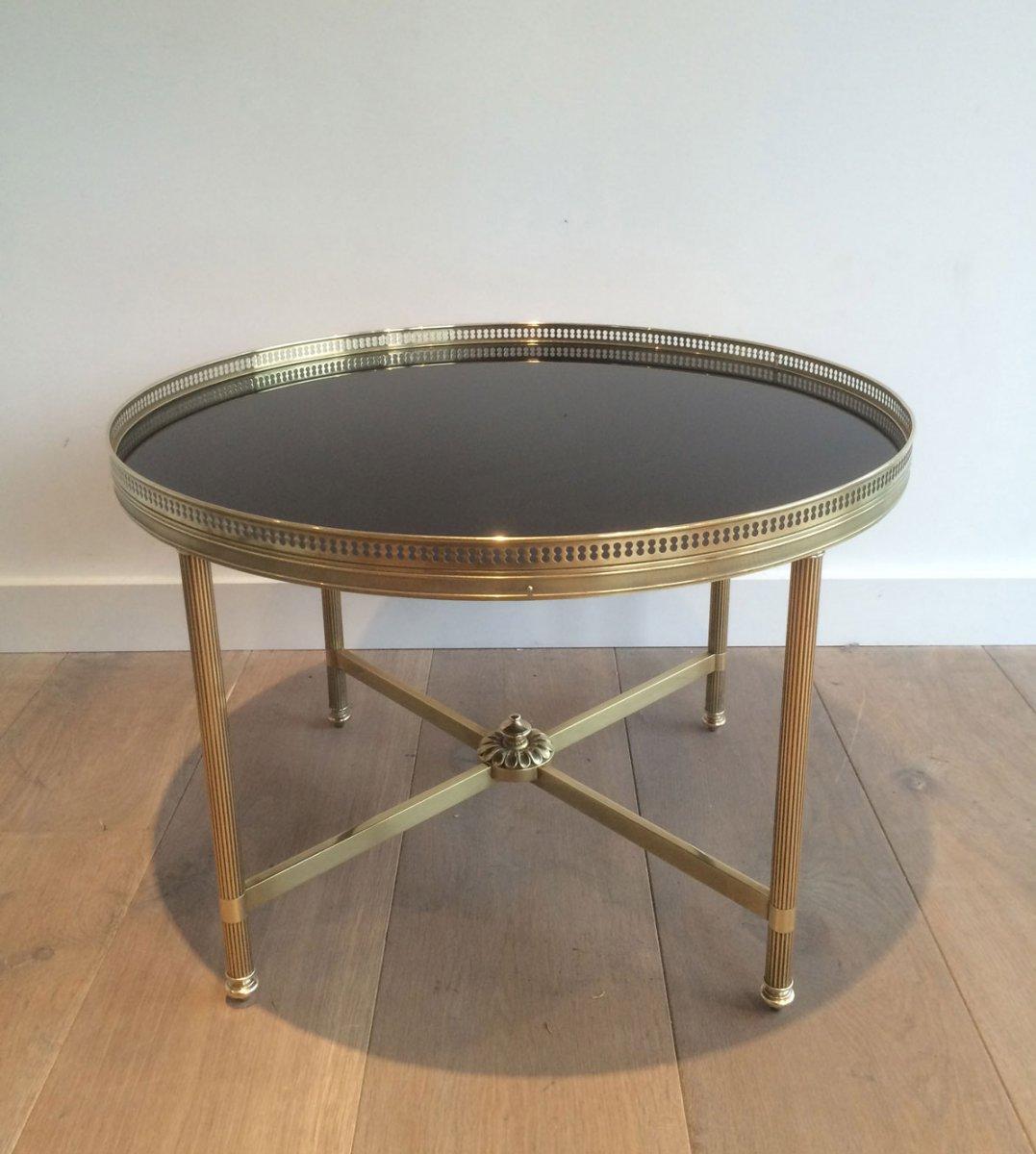 Maison Bagués. Table Basse Ronde De Style Néoclassique En Laiton à Plateau De Verre Laqué Noir-photo-7