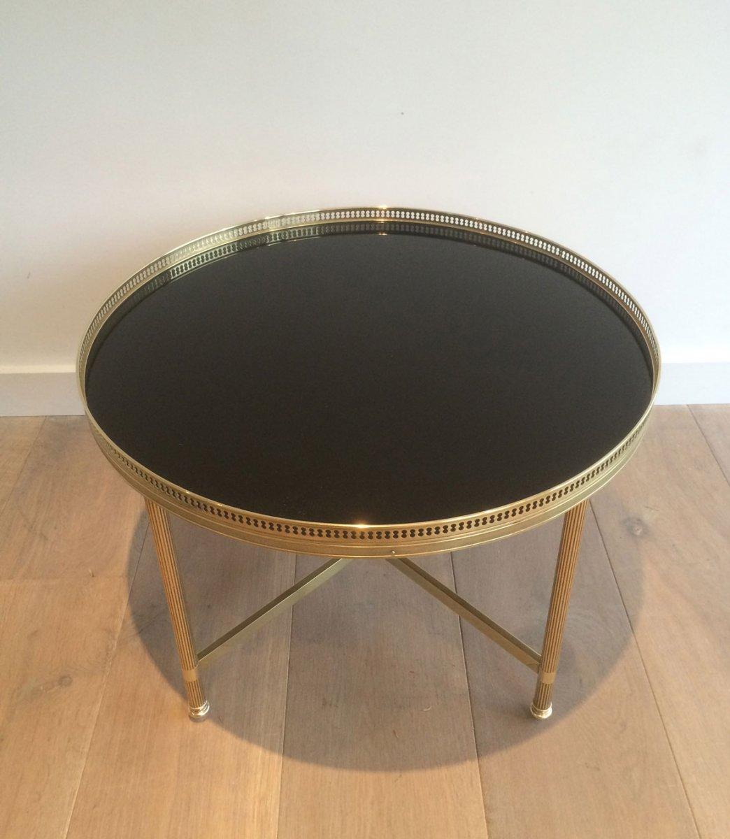 Maison Bagués. Table Basse Ronde De Style Néoclassique En Laiton à Plateau De Verre Laqué Noir-photo-8