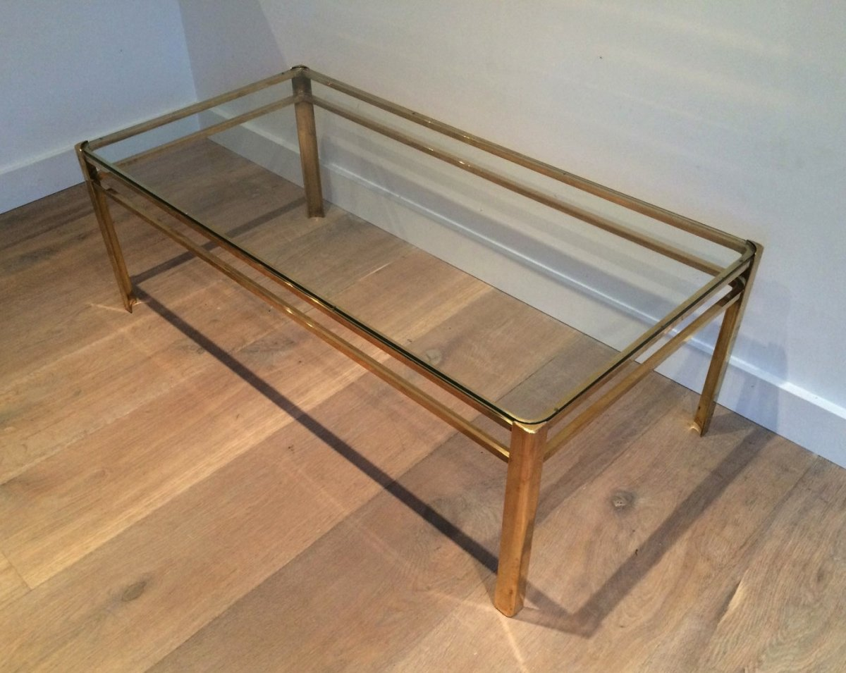Attributed To Jacques Quinet. Bronze And Brass Coffee Table. Signed And Numbered. French. Circa