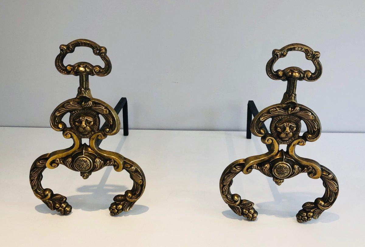 Paire De Chenets De Style Néoclassique En Bronze Et Fer Forgé. Travail Français. Vers 1940