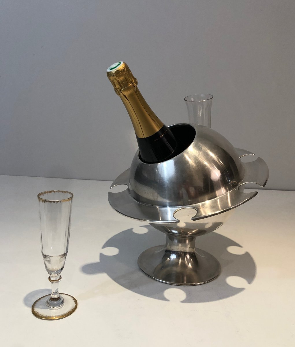 Rare Silver Plated Champagne Bucket With Flutes Holder. French. Circa 1970