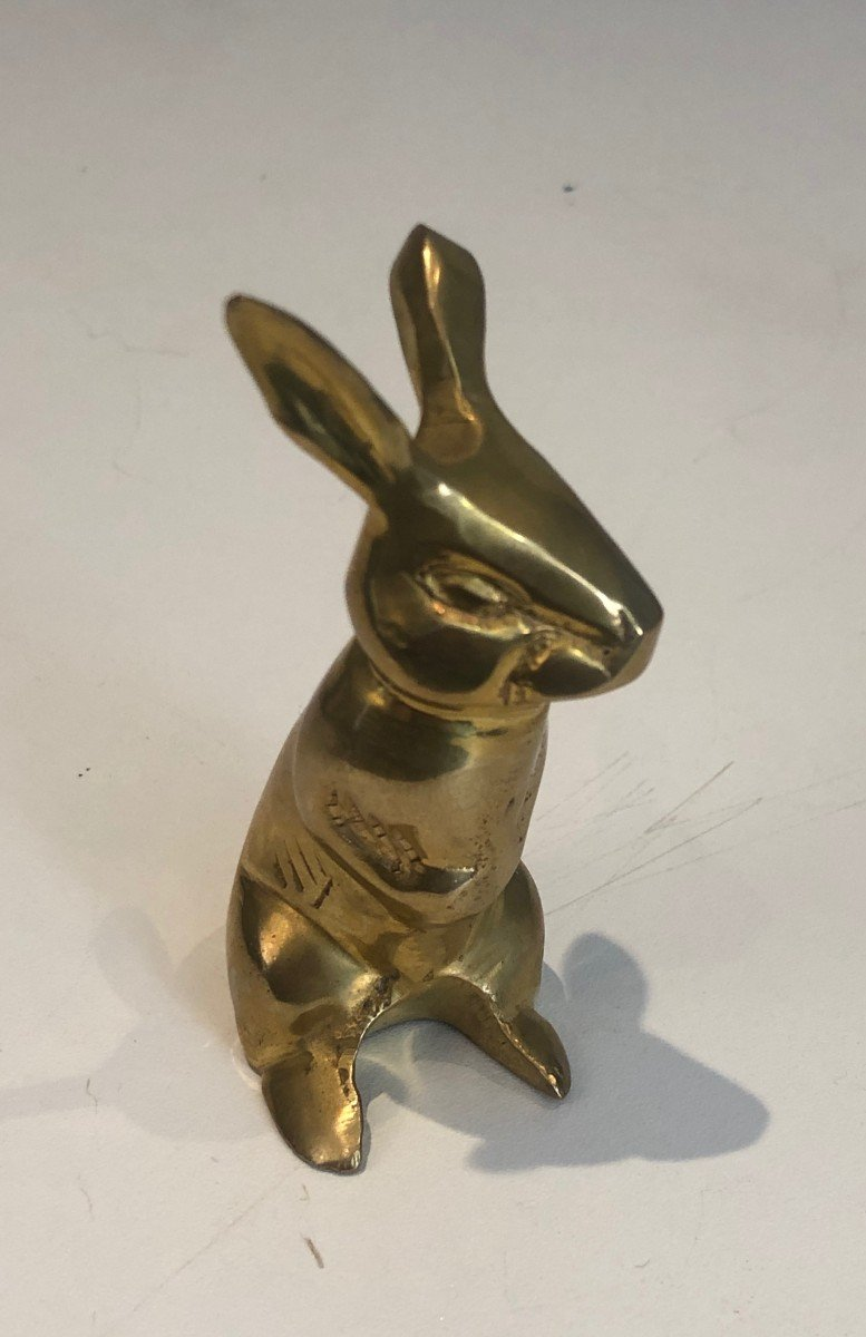 Petite Sculpture En Laiton Représentant Un Lapin. Travail Français. Vers 1970-photo-4