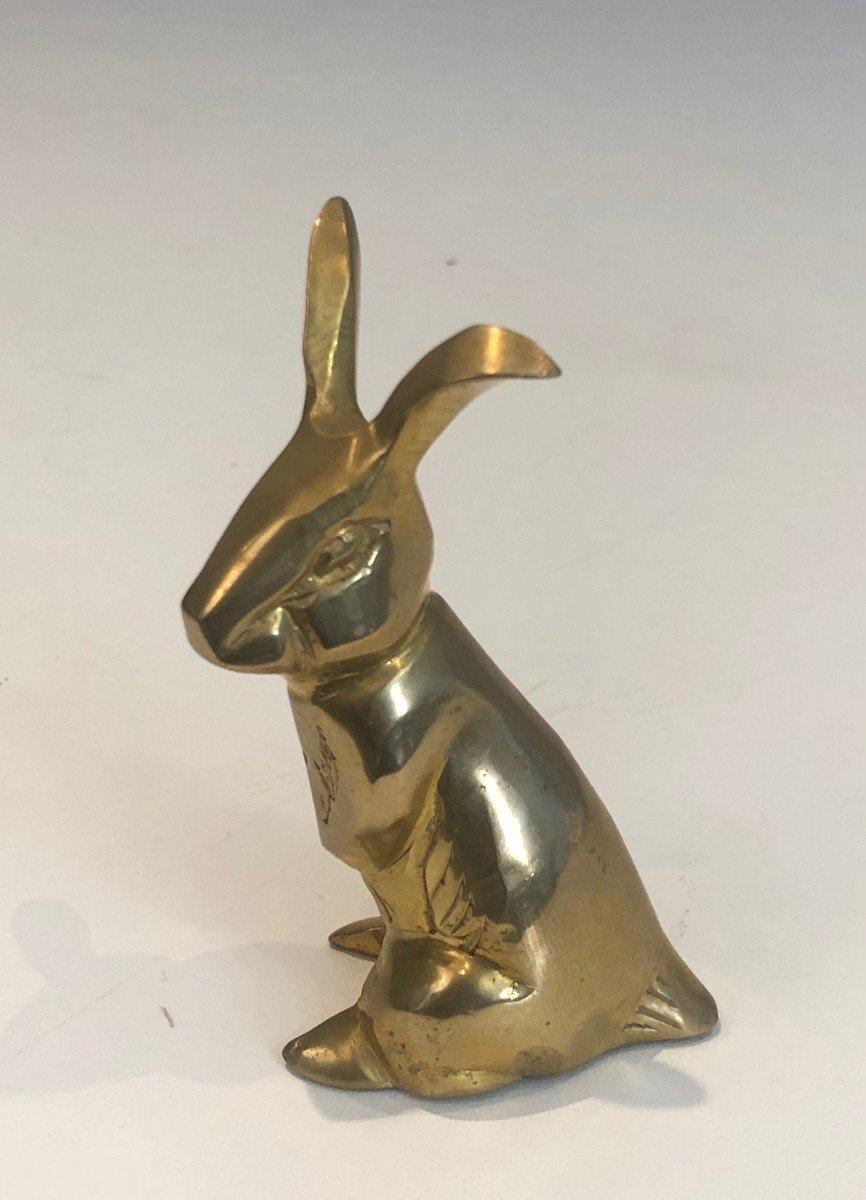 Petite Sculpture En Laiton Représentant Un Lapin. Travail Français. Vers 1970-photo-5