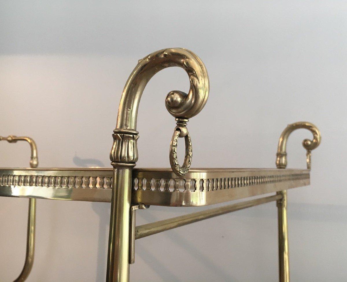 Maison Jansen. Rare Table Roulante De Style Néoclassique En Laiton Et Plateaux De Verre-photo-2
