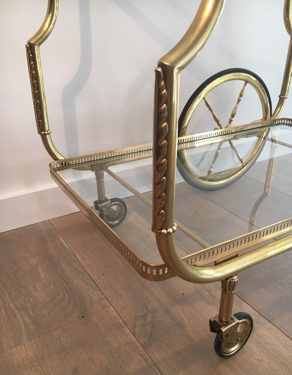 Maison Jansen. Rare Table Roulante De Style Néoclassique En Laiton Et Plateaux De Verre-photo-3