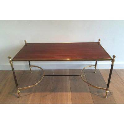 Coffee Table With Brushed Metal Structure Brass And Bronze, Wooden Tray.