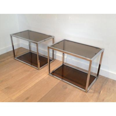 Pair Of Chrome And Smoked Glasses Side Tables. Circa 1970