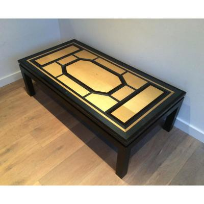 Large Black, Blue And Egg Shell Coffee Table. Circa 1970