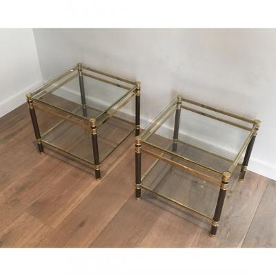 Pair Of Gun Metal And Brass Side Tables. Circa 1970