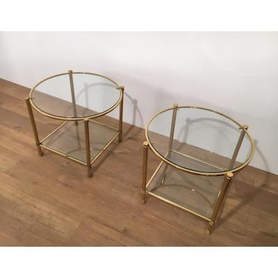 Pair Of Bouts Of Sofa Round 2 Brass Plates. Around 1970