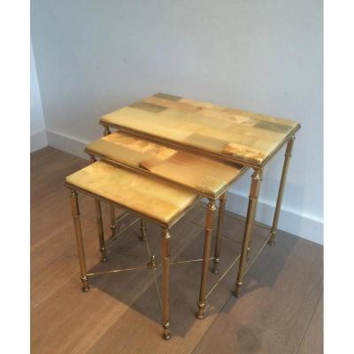 Suite 3 Nesting Tables Brass. Around 1960