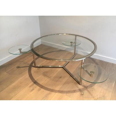 Rare And Beautiful Round Coffee Table For Glasses Removable Deck. Around 1970
