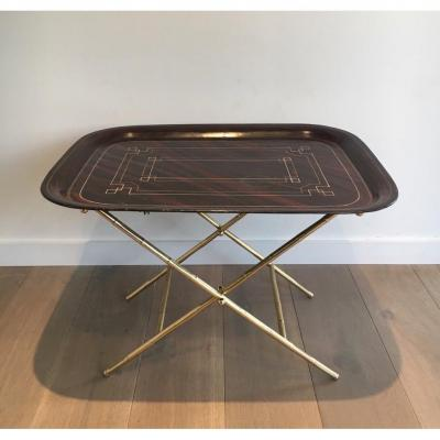 Beautiful Table Plateau Tole Painted And Brass. 1950