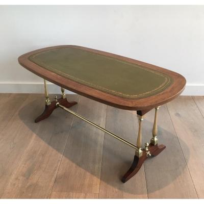 Neoclassical Coffee Table In Wood, Brass And Leather. About 1940