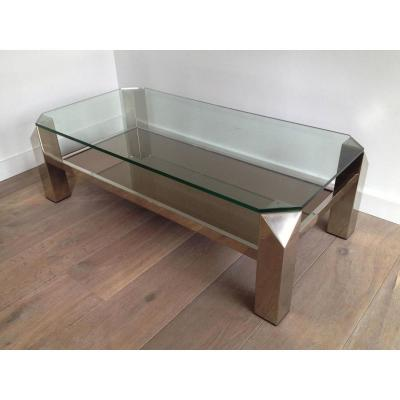 Very Beautiful Low Table Design Chromed Base.
