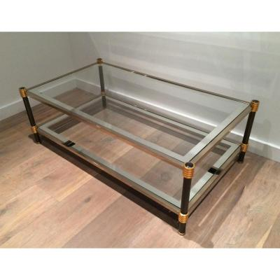Gun Metal And Gild Chrome Coffee Table. Circa 1970