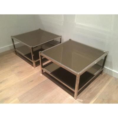 Pair Of Large Chrome Sofa Tips And Bronze Mirrors. About 1970