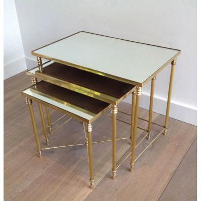 Suite Of 3 Nesting Tables With Mirror Trays. Around 1960