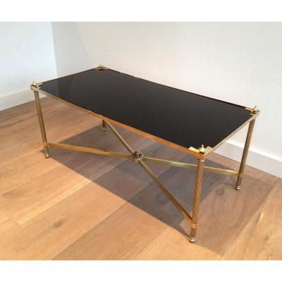 Rectangular Coffee Table Brass And Black Lacquered Glass Tray. Around 1940