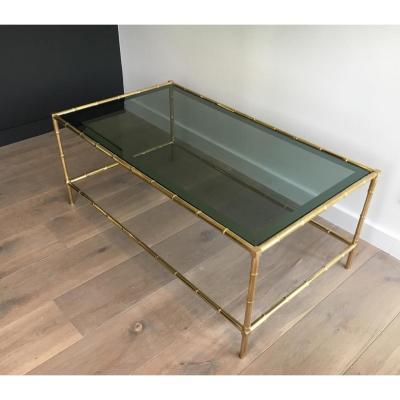 .Table Basse en Laiton Façon Faux Bambou