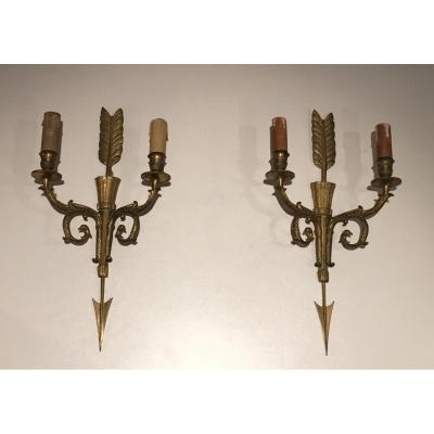 Pair Of Bronze Empire Style Wall Sconces With Arrows And Quivers.