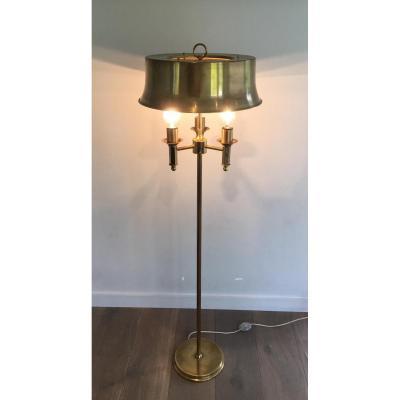 Lampe De Parquet En Laiton à Abat-jour En Laiton.
