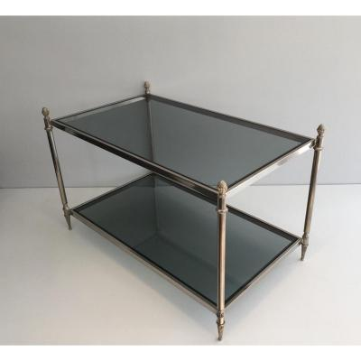 Silver Neoclassical Coffee Table With Plateaux De Verres