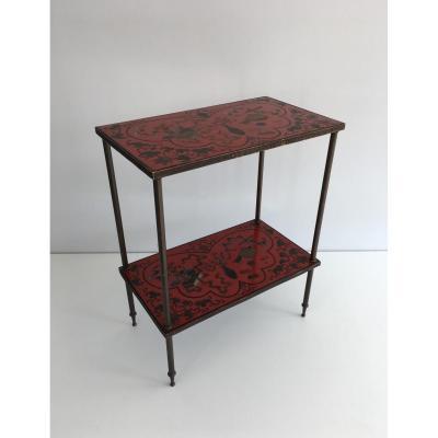 table à deux niveaux à Plateaux Cloisonnés d'Incrustations