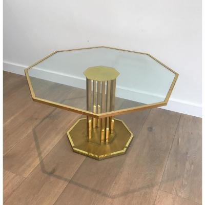 Table Low Design In Brass And Glass. Around 1970