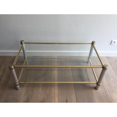 Table Basse Pierre Vandel Chromée Et Dorée à Pieds Cannelés