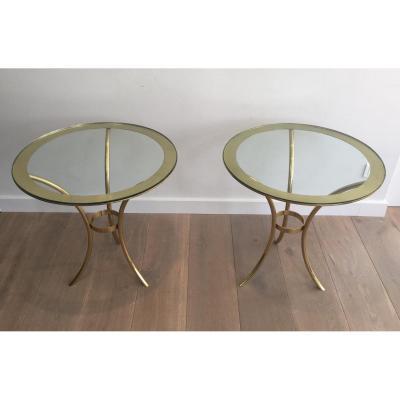 Pair Of Round Golden Sofa Tips