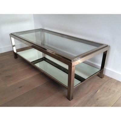 Table Basse Chromée. Très Belle Qualité. Vers 1970