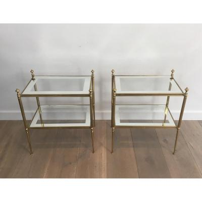Pair Of Brass Sofa Tips And Glazed Glass Tiles With Silver Trim.