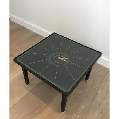 In The Style Of Jacques Adnet. Rare Black Leather And Brass Small Clock Table. French. Cir