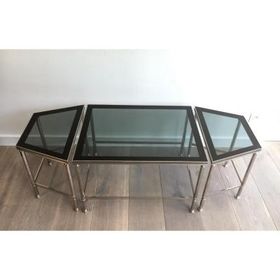 Rare Tripartite Nickel Coffee Table With Lacquered Glass Trays On The Rim