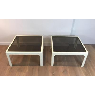 Poschinger. Pair Of Large White Fiberglassside Tables. German. Circa 1970
