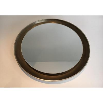 Mirror Silver Curved Wood.