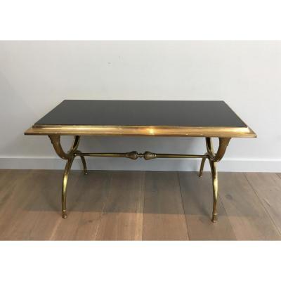 Table Basse Néoclassique En Bronze Et Laiton O Plateau De Verre Laqué Noir.