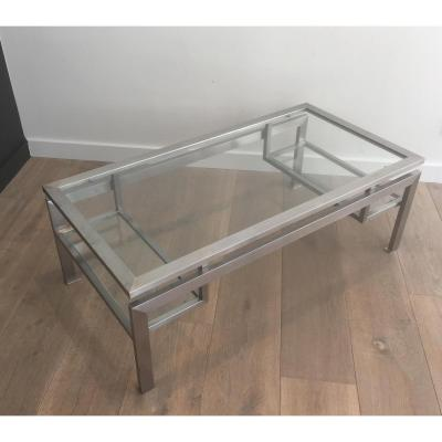 Coffee Table Brushed Steel And 2 Glass Shelves At The Bottom.