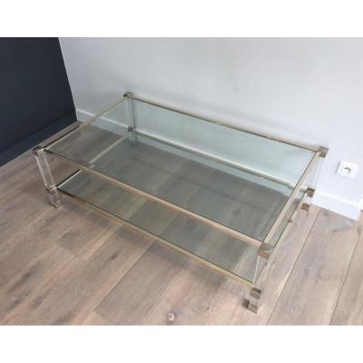 Grande Table Basse en Plexiglass et Chrome.
