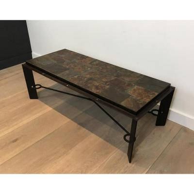 Rare Steel And Iron Coffee Table With Lava Stone Top. Circa 1940