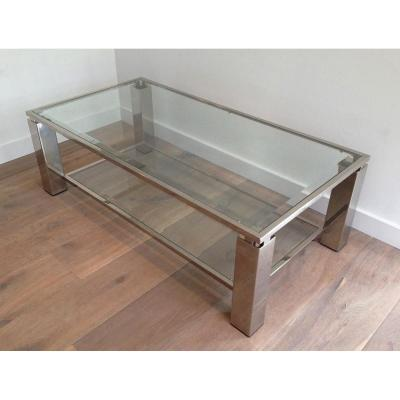 Modernist Chrome Coffee Table. French. Circa 1970
