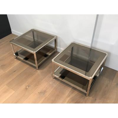 Pair Of Octagonal Chromed Sofa Tips Trays Of Tinted Glasses. Around 1970