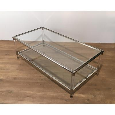 Large Coffee Table In Chrome And Plexiglass. Around 1970
