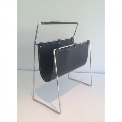 Porte-revues En Chrome Et Cuir Noir. Vers 1970