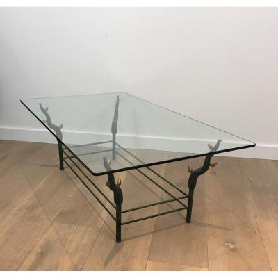 Original Wrought Iron Coffee Table With Legs Made Of Tree Branches.